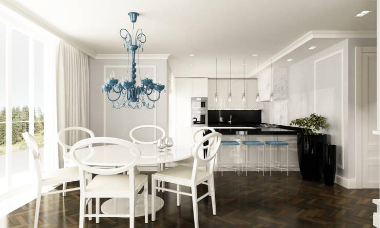 Jadalnia z kuchnią : styl , w kategorii Jadalnia zaprojektowany przez living box