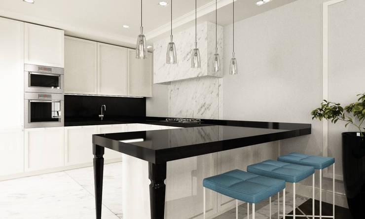 Kuchnia ze stylizowanym stołem barowym: styl , w kategorii Kuchnia zaprojektowany przez living box