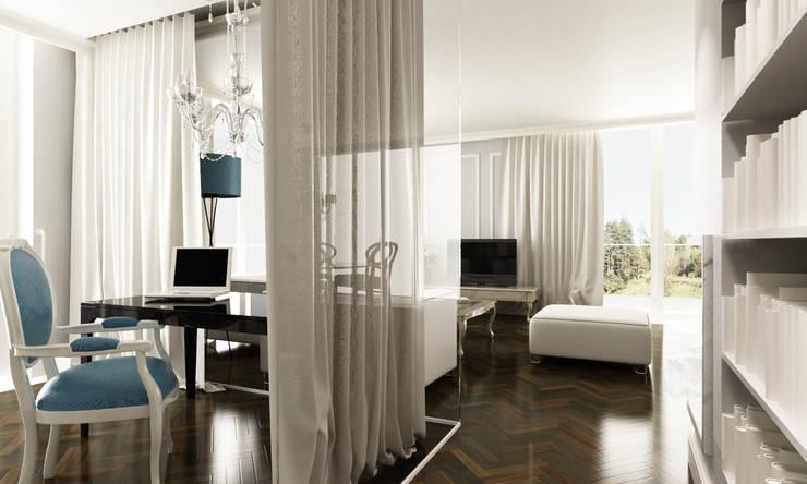 Gabinet z tafli szkła: styl , w kategorii Domowe biuro i gabinet zaprojektowany przez living box