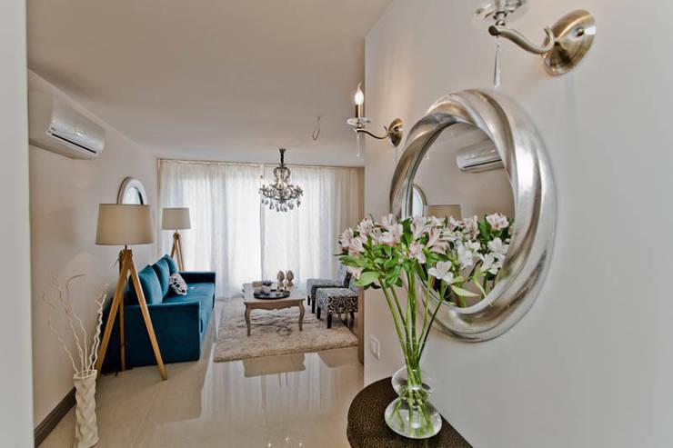 Апартаменты с одной спальней в комплексе <q>Garden of eden</q> Болгария: Гостиная в . Автор – Студия Татьяны Гребневой