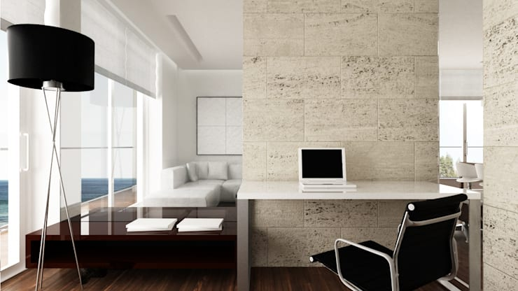 Minimalst style study/office by living box Minimalist