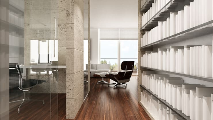 Minimalist corridor, hallway & stairs by living box Minimalist