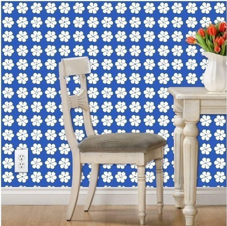 Petal - White on Cornflower:  Walls & flooring by Court & Spark