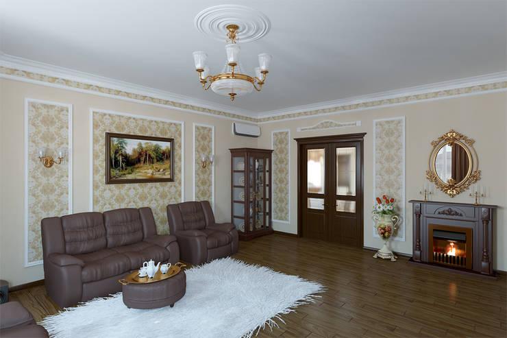 Неоклассика в гостиной: Гостиная в . Автор – Москоу Дизайн
