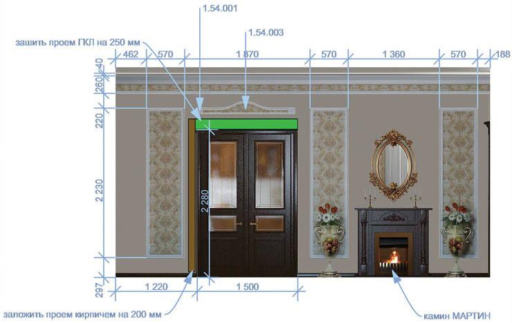 Неоклассика в кухне и гостиной: Гостиная в . Автор – Москоу Дизайн