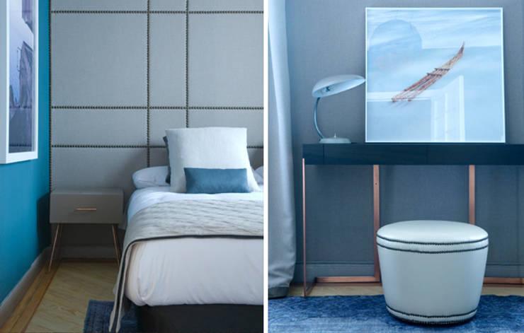 Habitación tipo showroom : Dormitorios de estilo  de DyD Interiorismo - Chelo Alcañíz