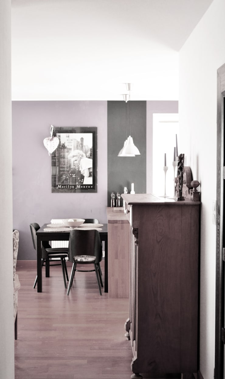 Widok na stół w części jadalnej: styl , w kategorii Salon zaprojektowany przez Denika