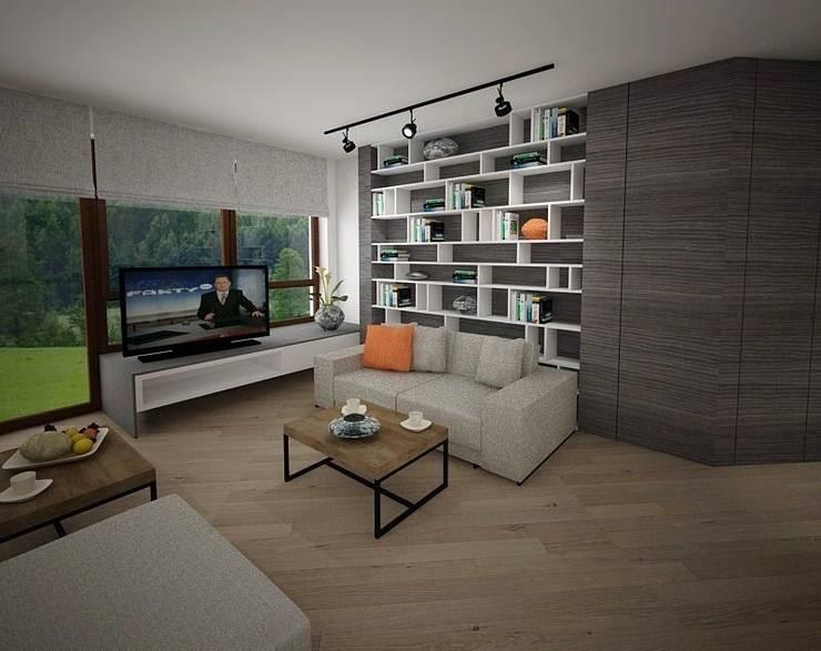 Salon z wnęką na książki: styl , w kategorii Salon zaprojektowany przez living box