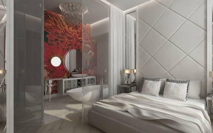 Sypialnia z przeszkloną łazienką : styl , w kategorii Łazienka zaprojektowany przez living box