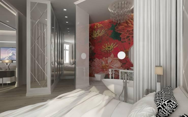 Łazienka z kwiatową mozaiką : styl , w kategorii Łazienka zaprojektowany przez living box
