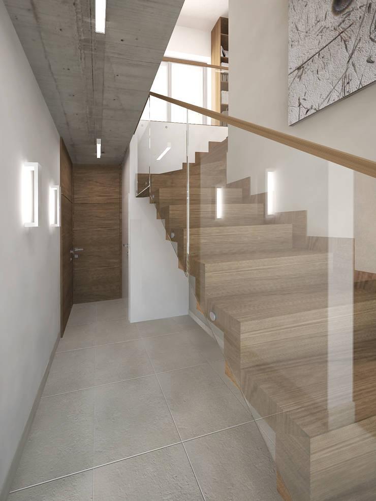 Dębowe schody dywanowe: styl , w kategorii Korytarz, przedpokój zaprojektowany przez KRY_
