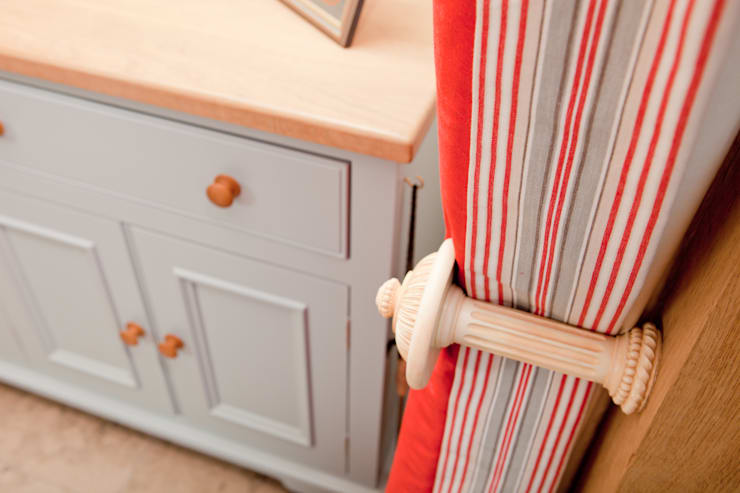 Ivory, taupe and coral red striped full length curtains:  Kitchen by Design by Deborah Ltd