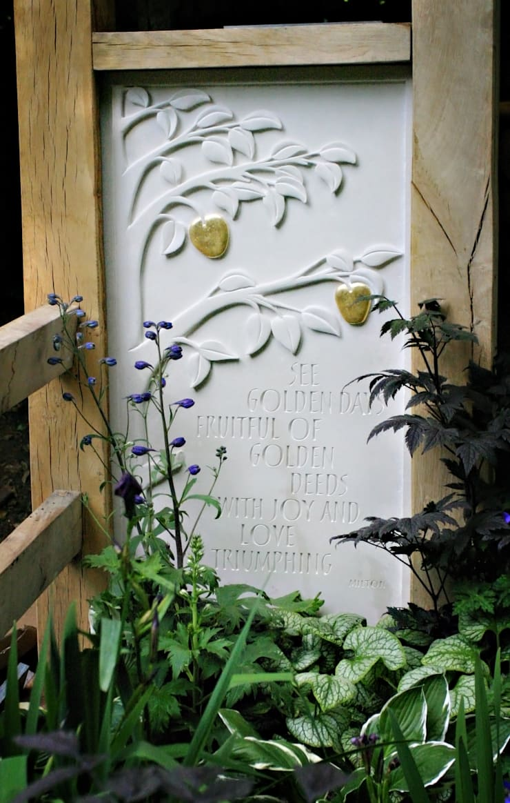 Hand carved Portland stone panel:  Garden by Martin Cook Studio