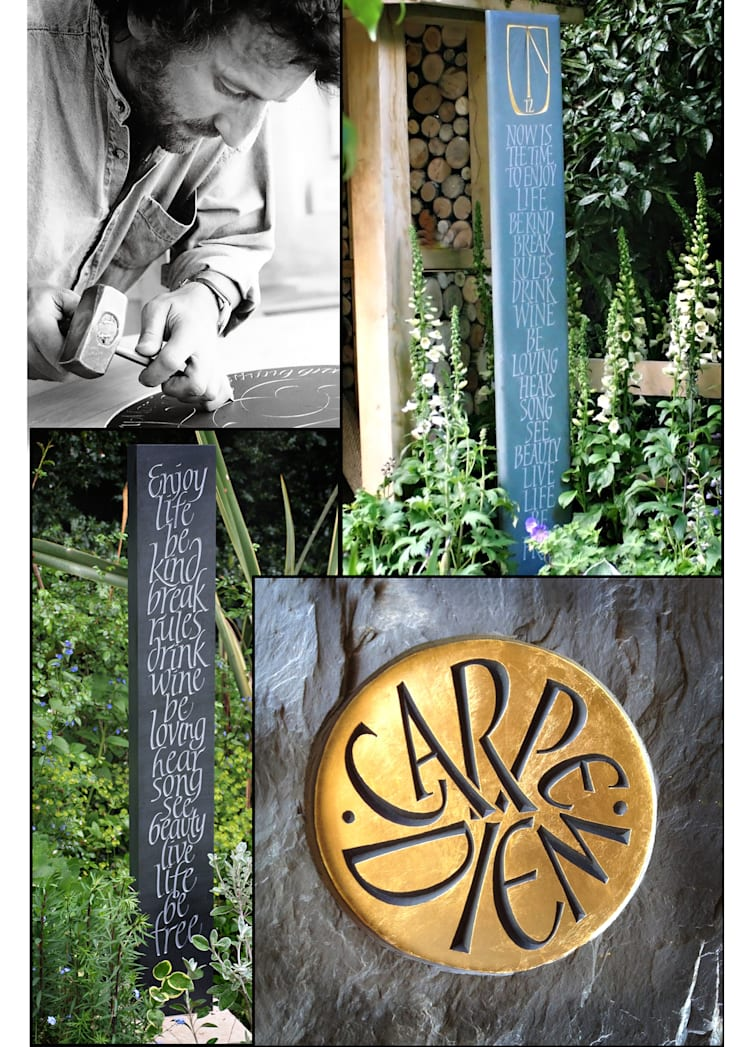 Standing stone and standing sundials for private gardens:  Garden by Martin Cook Studio