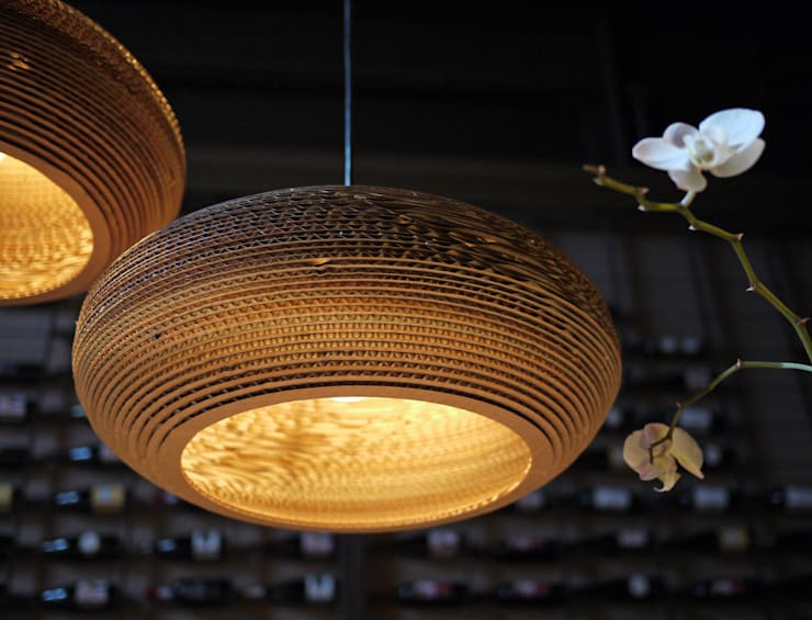 Graypants Disc Pendant Light:  Living room by NuCasa