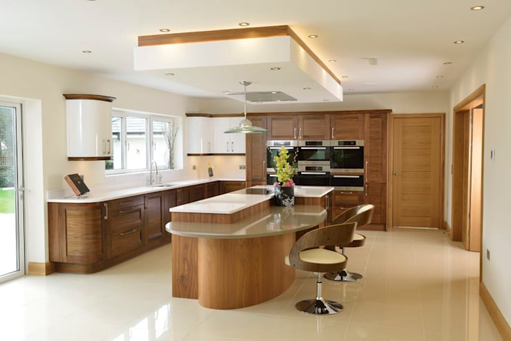 Mr & Mrs Broomhead Walnut & White Gloss Kitchen:  Kitchen by Room