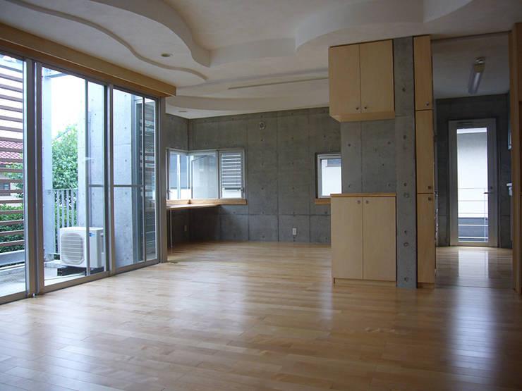 ギャラリーを併設した二世帯住宅: 三浦尚人建築設計工房が手掛けたリビングです。