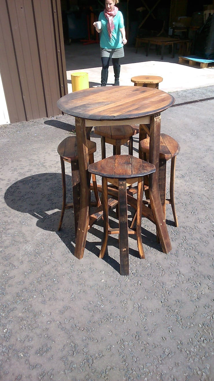bar table and four stools:  Garden  by Robbie Reid Furniture