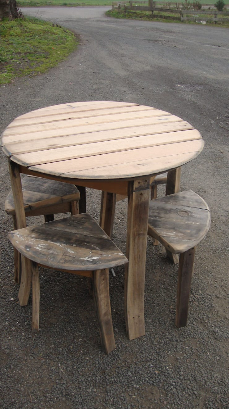 large slatted table with four corner stools:  Garden  by Robbie Reid Furniture