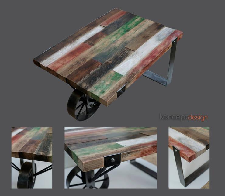 """Stół """"Taczka"""": styl , w kategorii Salon zaprojektowany przez Konceptdesign"""
