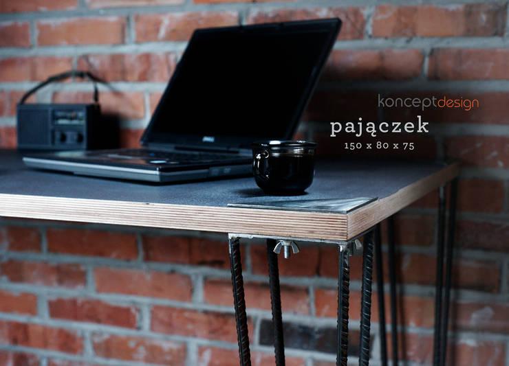 """Stół """"Pajączek"""": styl , w kategorii Domowe biuro i gabinet zaprojektowany przez Konceptdesign"""