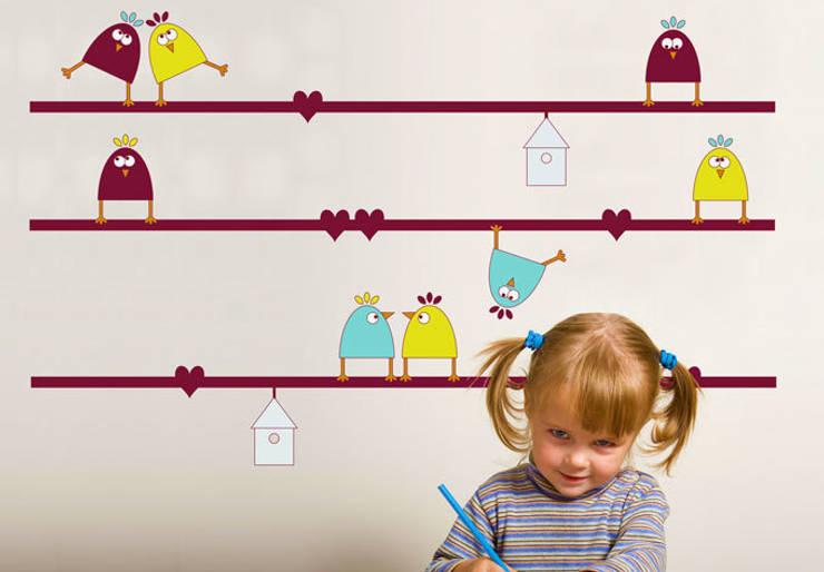 Amours de Piafs: Chambre d'enfants de style  par wall-art.fr