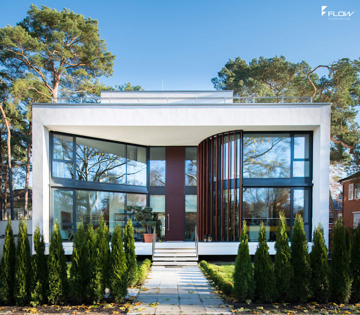 Frontansicht Cubus Luxushaus:  Häuser von FLOW.Generalunternehmer