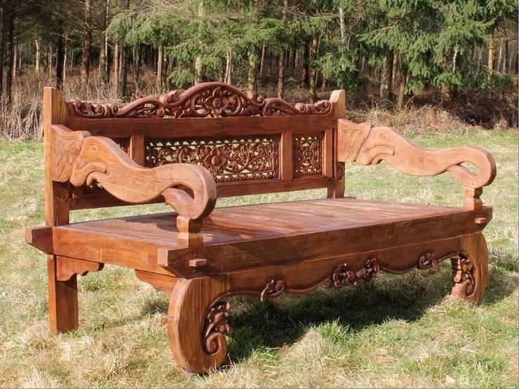 Carved Elephant Bench:  Garden  by Garden Furniture Centre