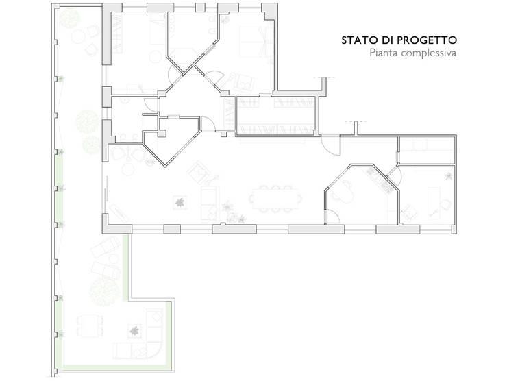 Pianta complessiva appartamento:  in stile  di Interni d' Architettura