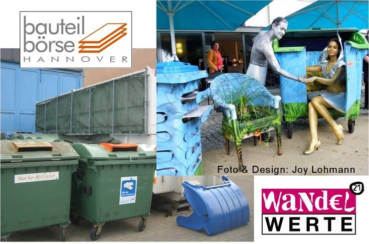 Upcycling mit ausrangierten Abfallbehältern:   von Bauteilbörse Hannover
