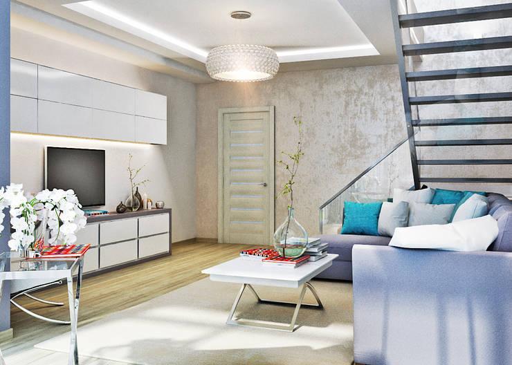 Двухуровневая квартира в морском стиле: Гостиная в . Автор – Студия дизайна Interior Design IDEAS