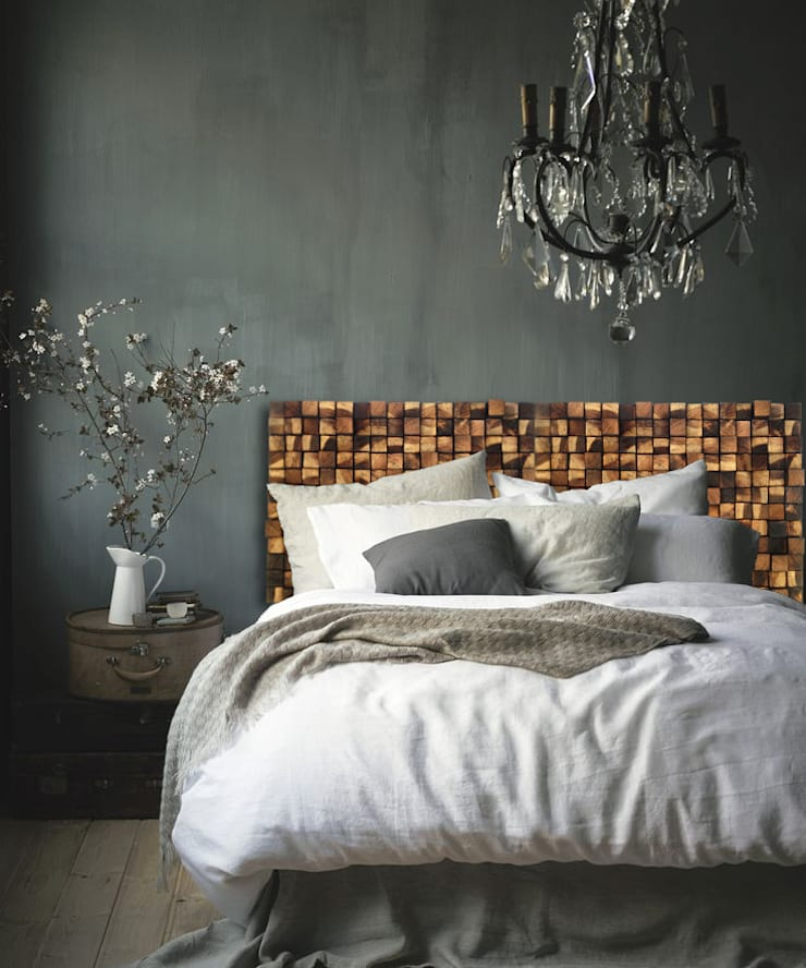 Wezgłowie: styl , w kategorii Sypialnia zaprojektowany przez DrewnianaŚciana
