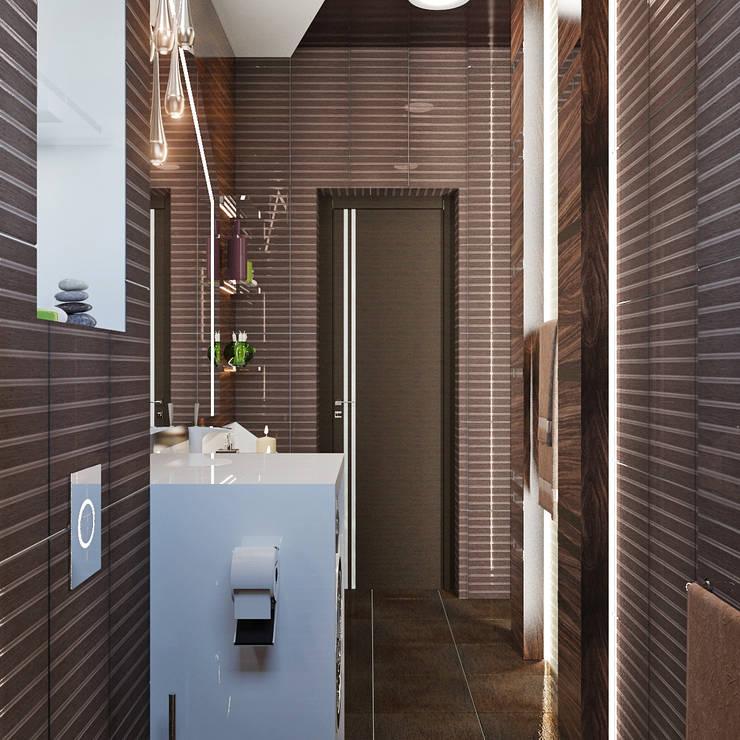 Лаконичный интерьер для маленькой ванной: Ванные комнаты в . Автор – Студия дизайна Interior Design IDEAS, Минимализм