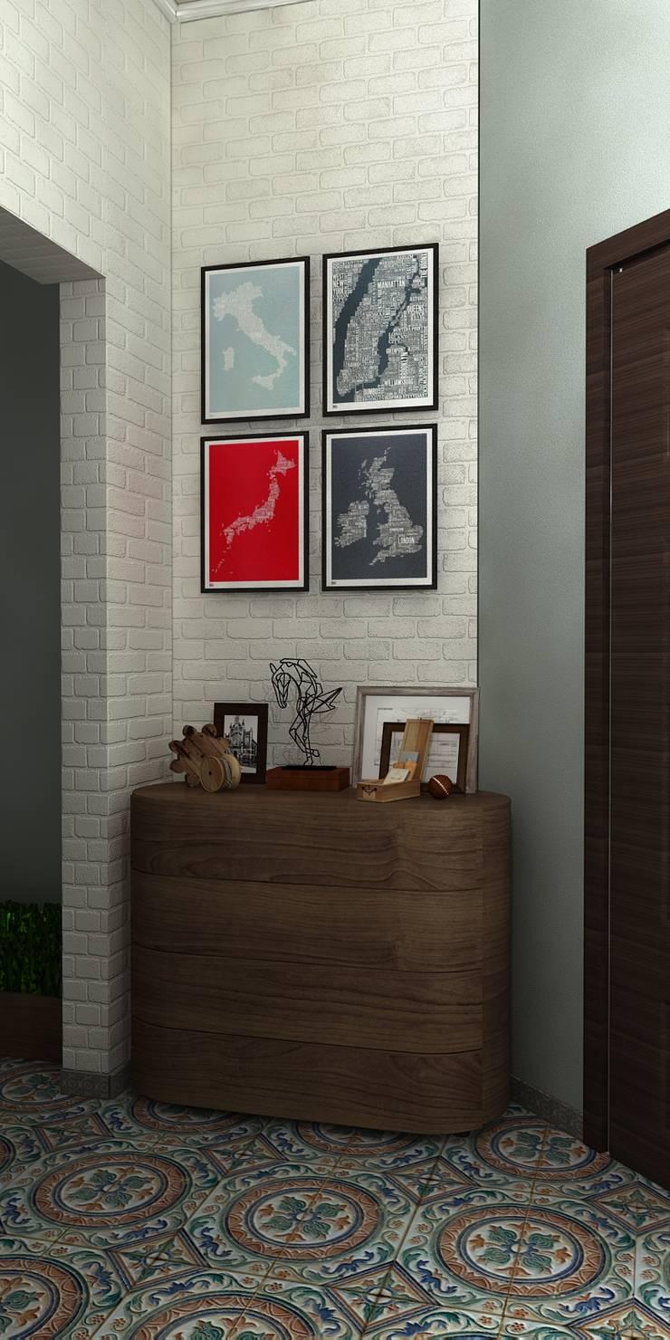 Спальня с балконом и холл в частном доме: Коридор и прихожая в . Автор – AnARCHI, Лофт