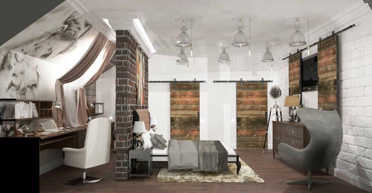 Спальня с балконом и холл в частном доме: Спальни в . Автор – AnARCHI