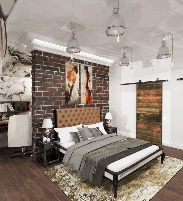 Спальня с балконом и холл в частном доме: Спальни в . Автор – AnARCHI, Лофт