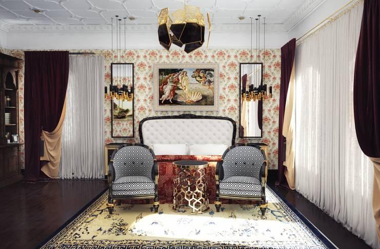 Спальня в загородном доме: Спальни в . Автор – Настасья Евглевская