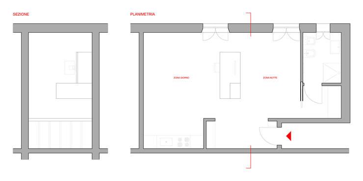 Planimetria e sezione dell'intervento:  in stile  di M N A - Matteo Negrin