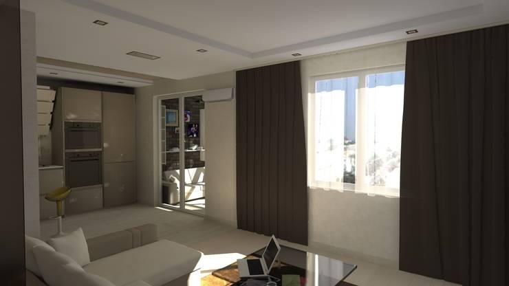Проект двух комнатной квартиры.: Гостиная в . Автор – Студия ремонта 'Рыжий кот'
