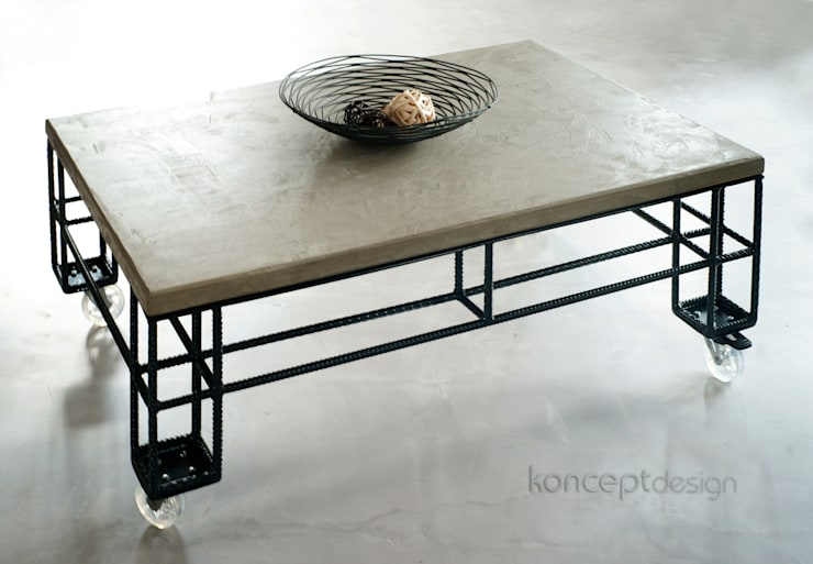 """Stół """"Paleciak"""": styl , w kategorii Salon zaprojektowany przez Konceptdesign"""