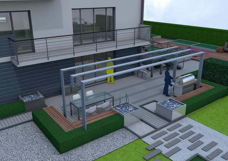 Projekt tarasu i pergoli -  Wersja 1: styl , w kategorii Ogród zaprojektowany przez UNICAT GARDEN,