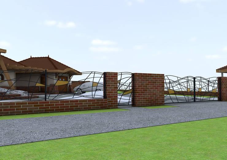 Projekt płotu - ujęcie 3: styl , w kategorii Ogród zaprojektowany przez UNICAT GARDEN