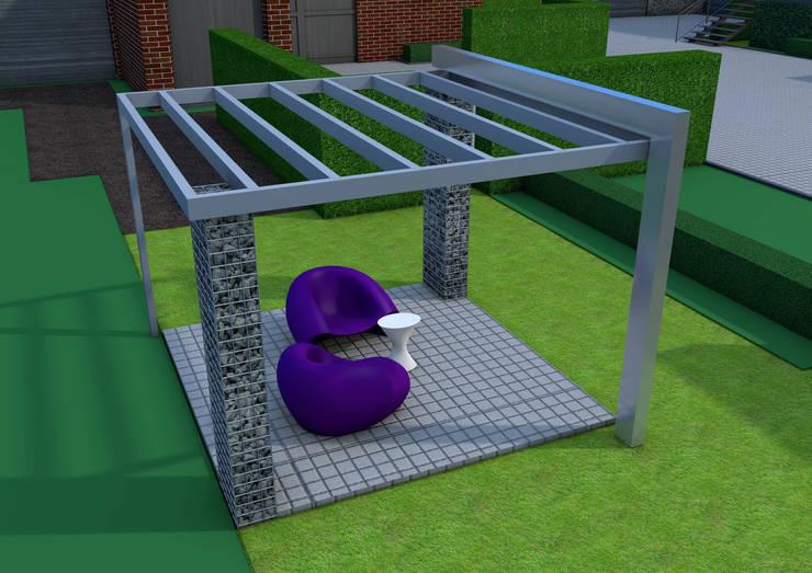 Projekt pergoli z gabionów- wersja 1.: styl , w kategorii Ogród zaprojektowany przez UNICAT GARDEN