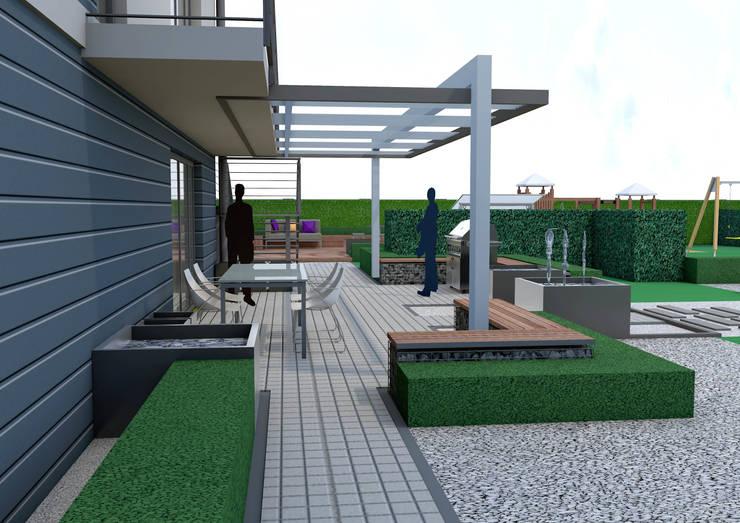 Projekt tarasu i pergoli -  Wersja 2: styl , w kategorii Ogród zaprojektowany przez UNICAT GARDEN,