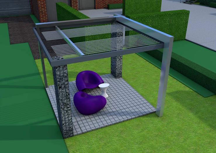 Projekt pergoli z gabionów- wersja 2.: styl , w kategorii Ogród zaprojektowany przez UNICAT GARDEN