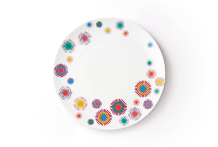 Duży porcelanowy talerz (śr. 28 cm) Dmuchawce marki Zulana : styl , w kategorii Jadalnia zaprojektowany przez Zulana