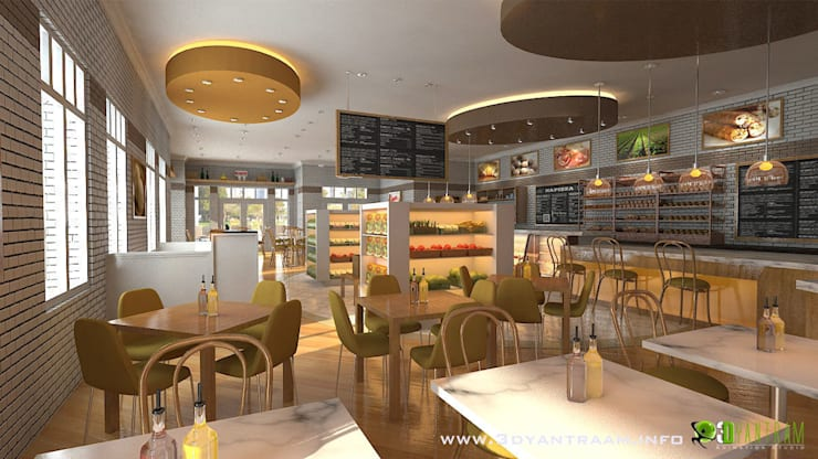 commercial 3d interior cgi restaurant bar:  Offices & stores by Architectural Design Studio