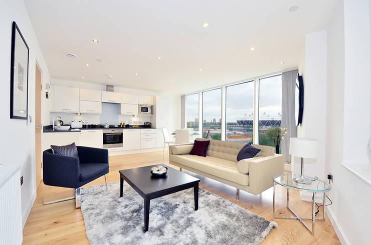 Open plan flat:  Living room by Graham D Holland