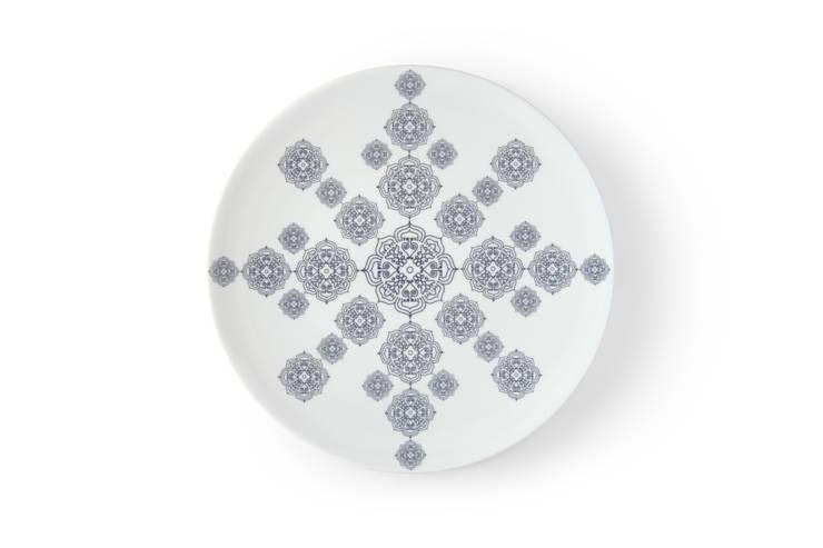 Duży, porcelanowy talerz z kolekcji Etno marki Zulana (śr.28cm): styl , w kategorii Jadalnia zaprojektowany przez Zulana