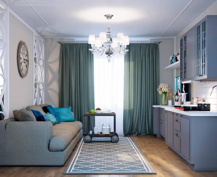Гостиная и столовая зоны: Гостиная в . Автор – EJ Studio